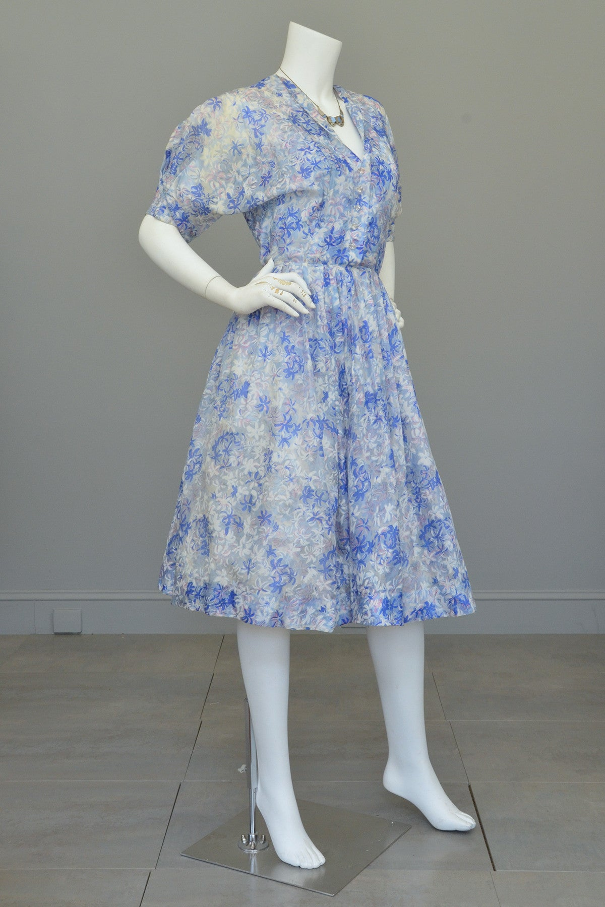 1940s 50s Semi Sheer Petal Print Two Piece Party Dress by Henry ...