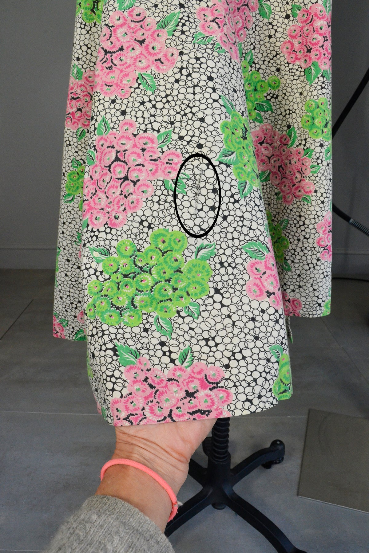 1940s 50s Pink Green Hydrangea Print Wrap House Dress