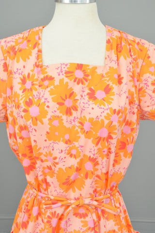 1950s 60s Pink Orange Floral Print Pockets Wrap House Dress