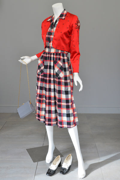 Late 1940s Early 50s Red White Black Plaid Dress Patch