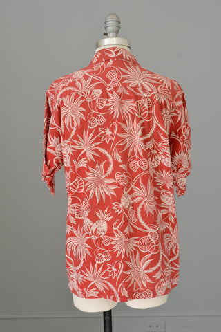 1940s 50s Red White Atomic Floral and Pineapple Print Unisex Hawaiian Shirt