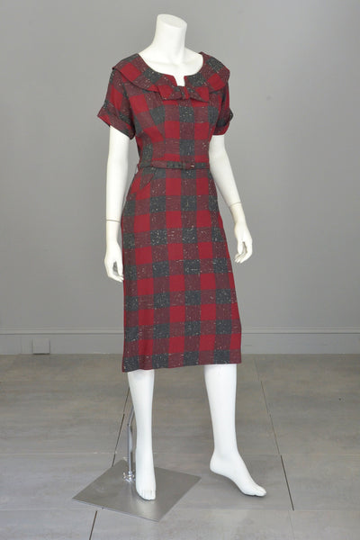 1940s 50s Red Wine Gray Plaid Wiggle Secretary Dress