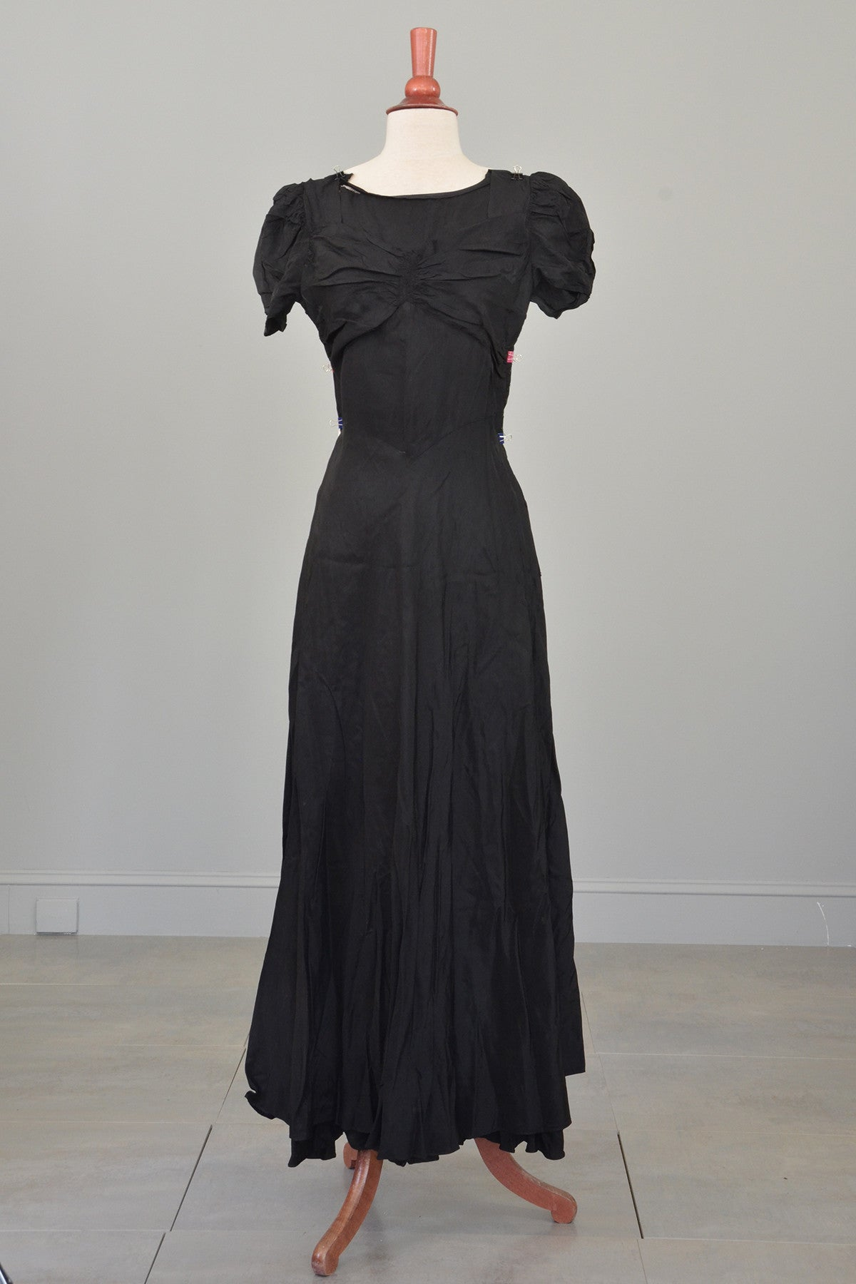1930s 40s Black Cascading Ruffles Gown / Underslip for Study or Restoration
