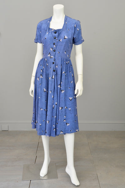 1940s R & K Original Retro Novelty Print Dress 'As Is'