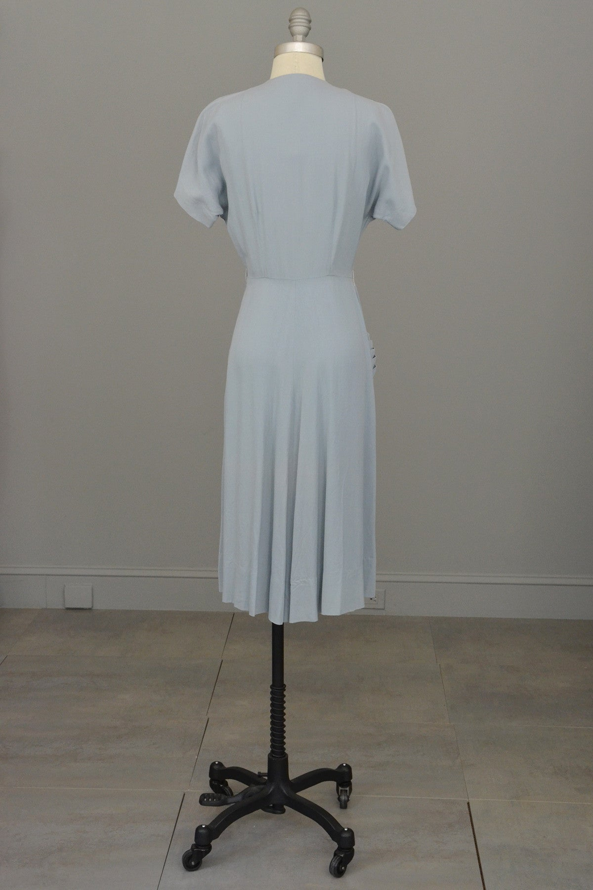 1940s Powder Blue Vintage Dress with Lucite Buttons and Pleated Pocket by R & K Original