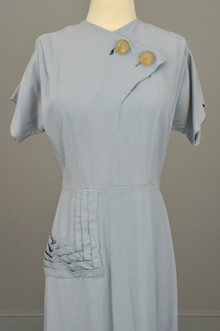 1940s Powder Blue Vintage Dress with Lucite Buttons and Pleated Pocket by R & K Originals