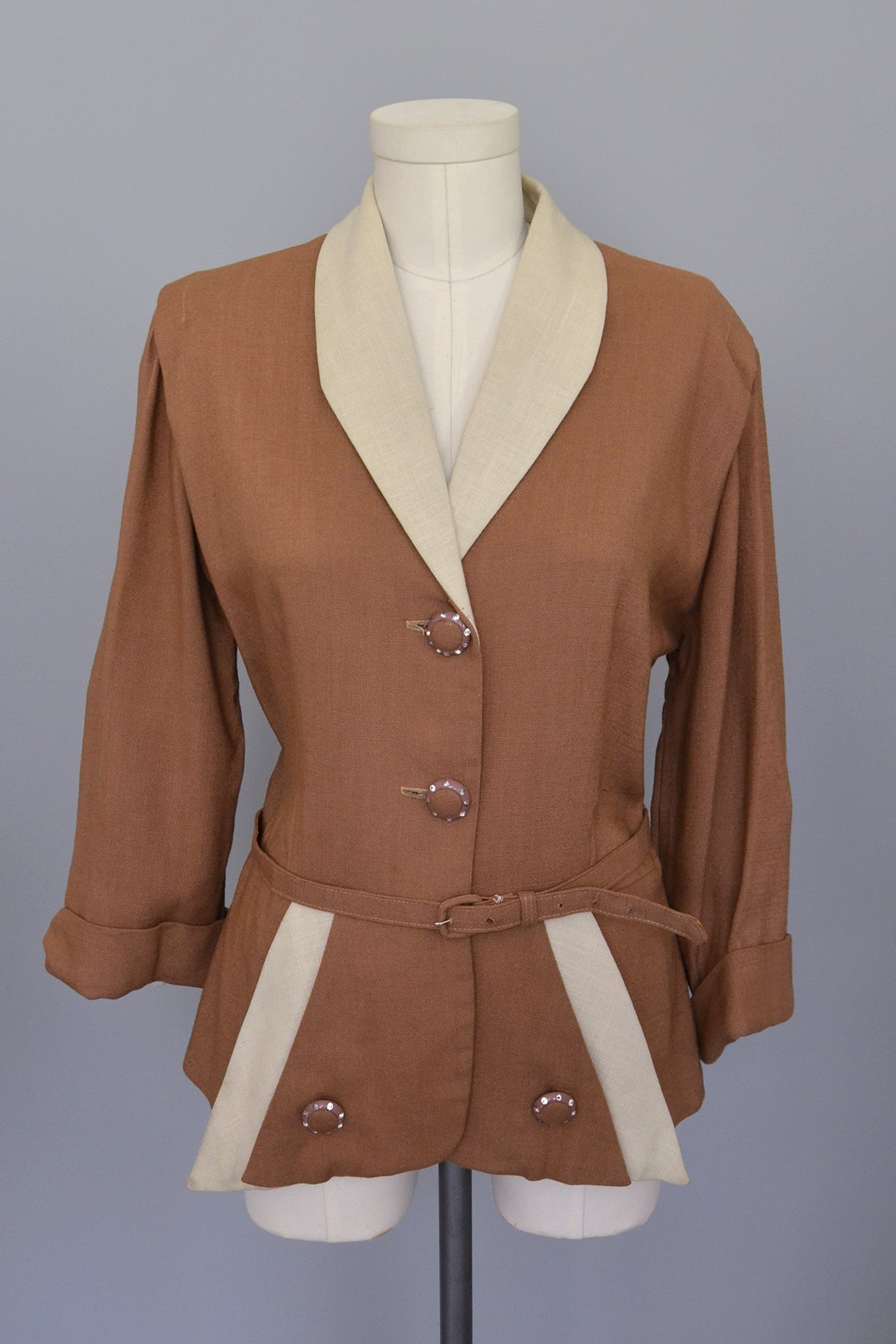 1940s Nutmeg Brown and Taupe Two-Tone Blazer, Large