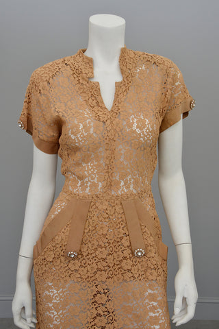1940s Embroidered Lace Dress | Fawn Color | Rhinestone Buttons
