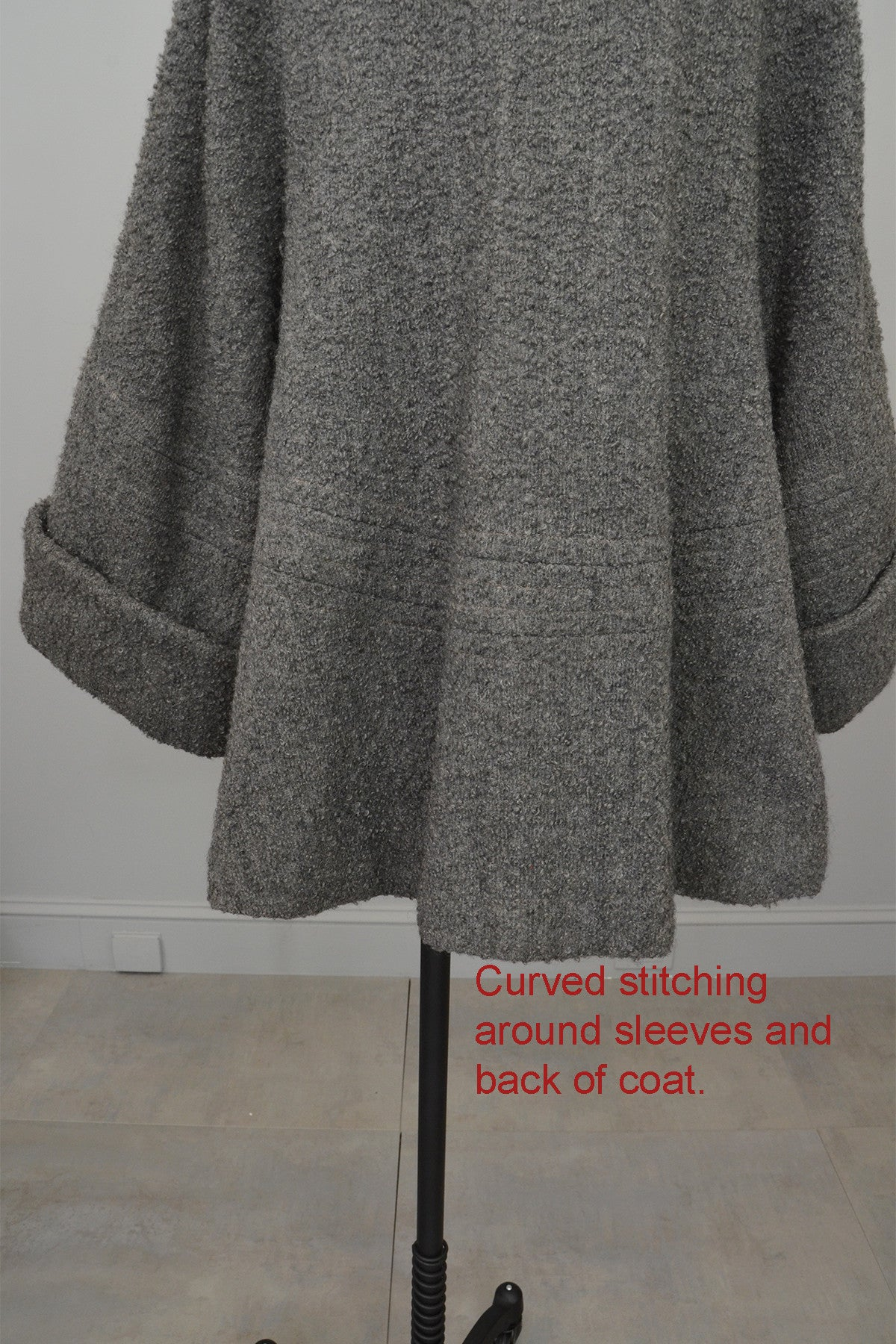 1940s Grey Boucle Swing Coat with Cuffed Bell Sleeves