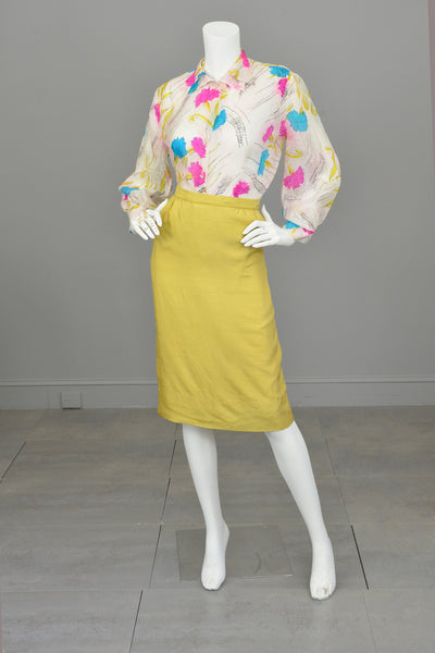 1940s Hand Dyed Tissue Silk Blouse with Balloon Sleeves