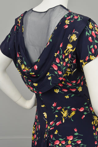 1940s Floral Print Sheer Back Draped Novelty Print Dress