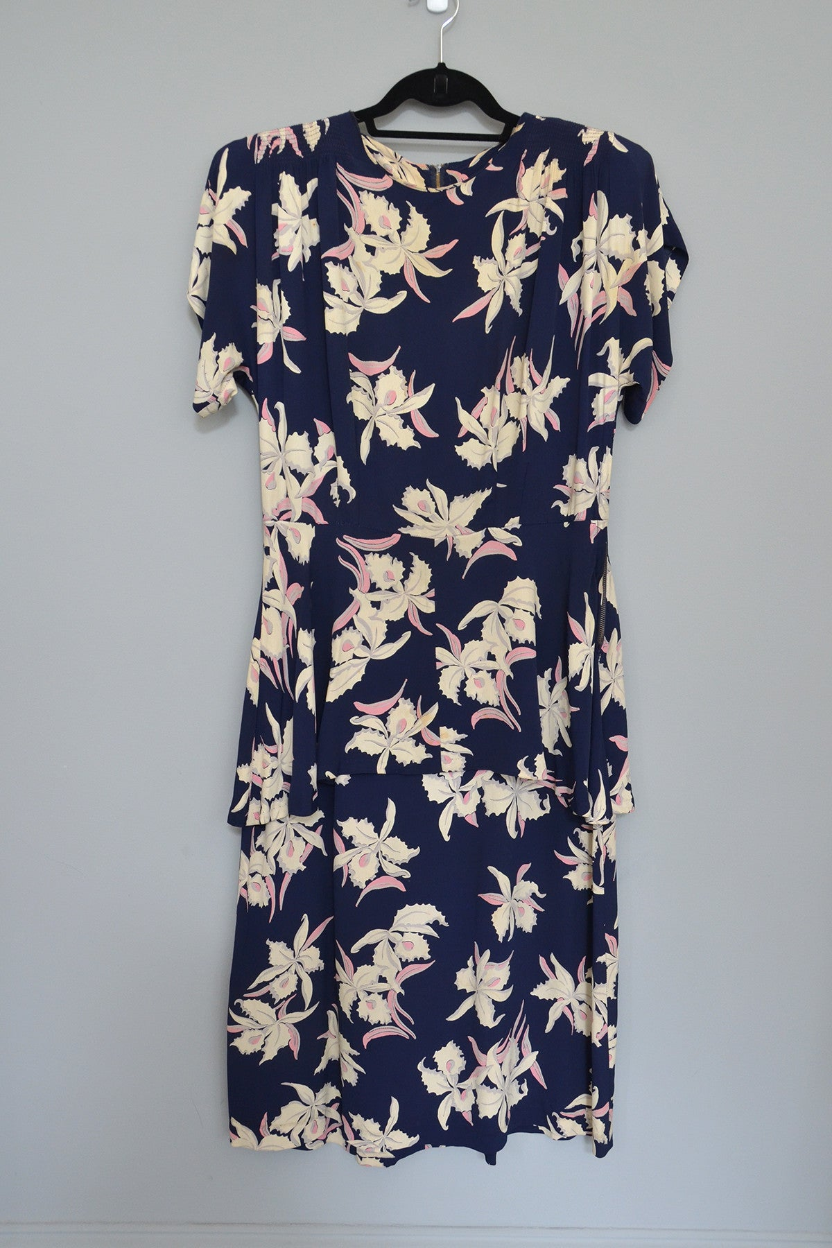 1940s Navy Blue Orchid Print Dress As-Is