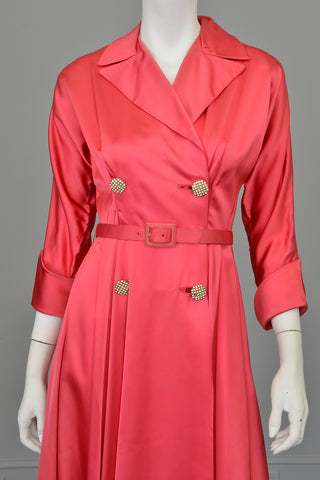 1940s Raspberry Pink Satin Wrap Front Dress House Coat