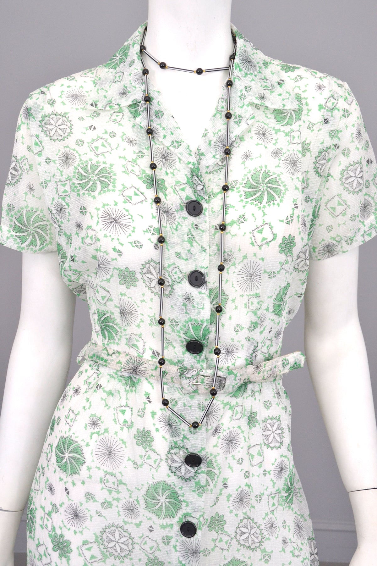 1940s White Sheer 'Seersucker' Spider Web Atomic Print Dress | 1940s Dress