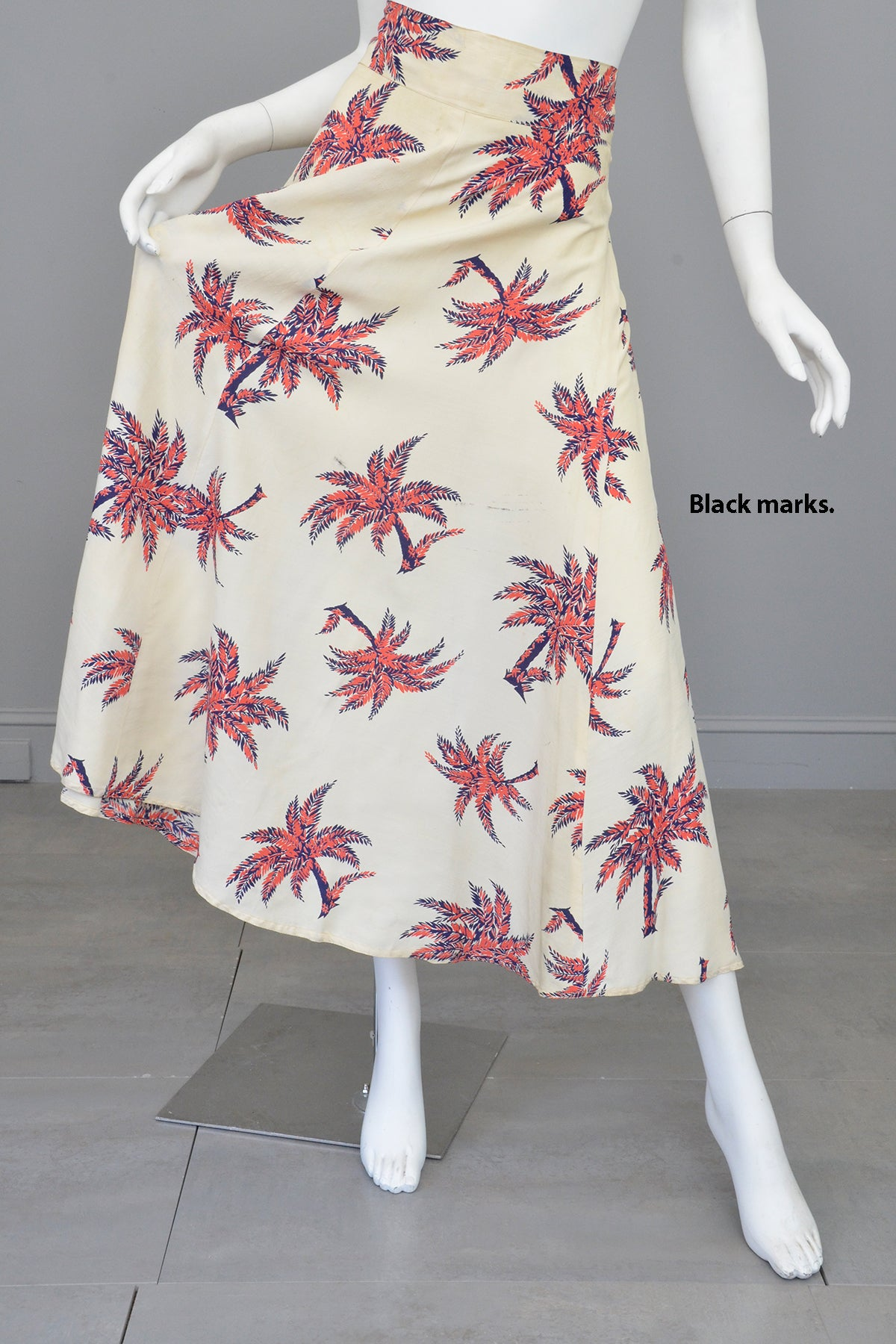 1940s Palm Tree Novelty Print Skirt - Needs cleaning + TLC