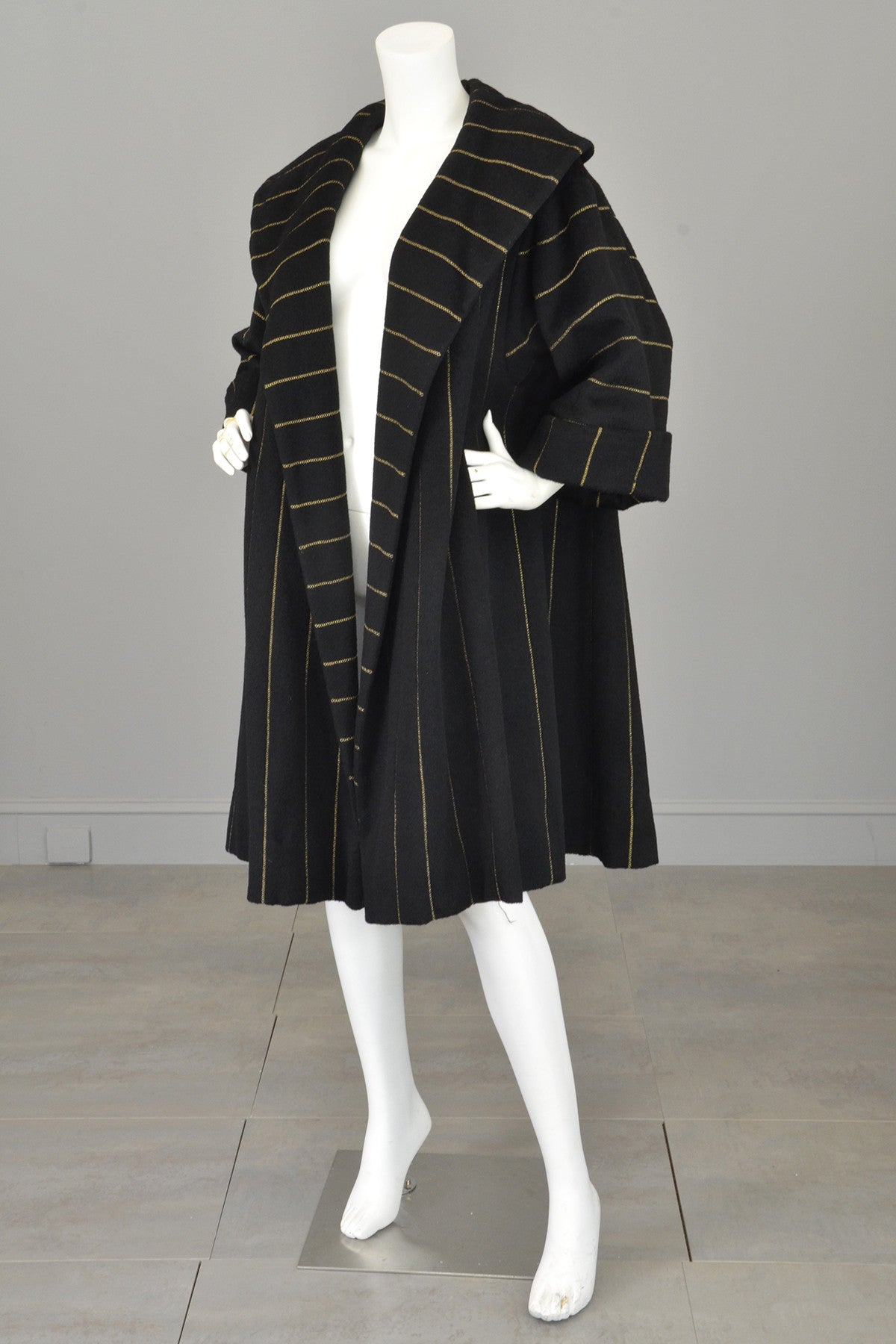 1950s 60s Black Wool Gold Metallic Swing Coat MOD Coat