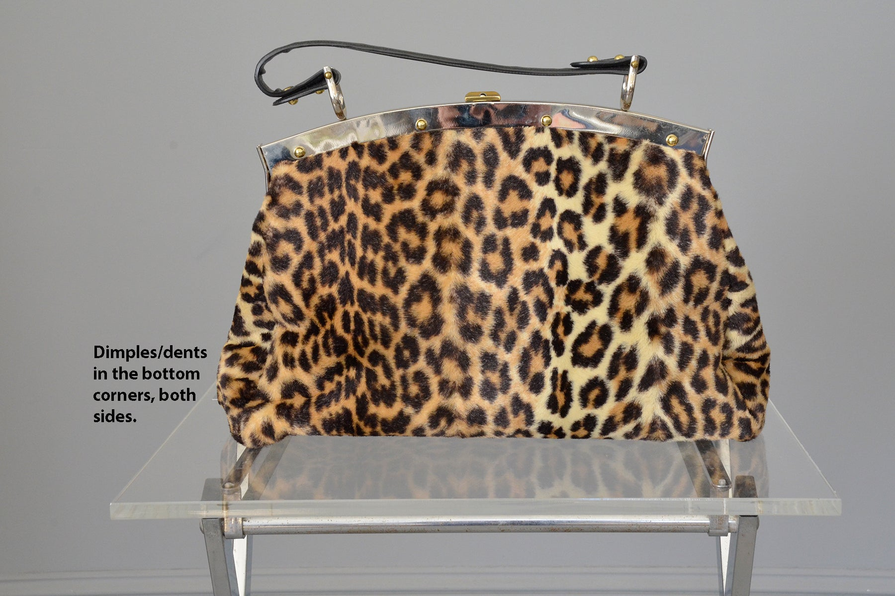 1950s 60s Leopard Print Faux Fur Carpet Bag