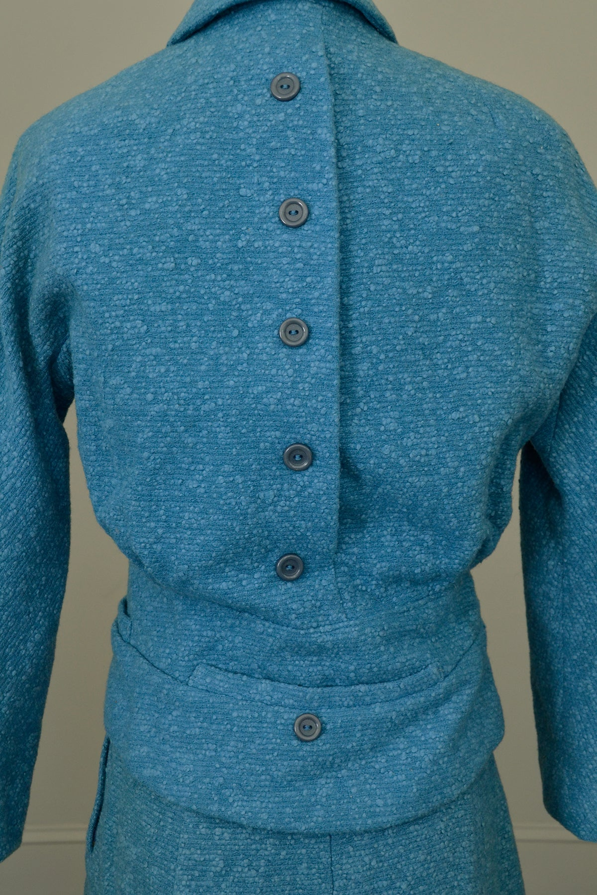 1950s Azur Blue Skirt Blazer Suit