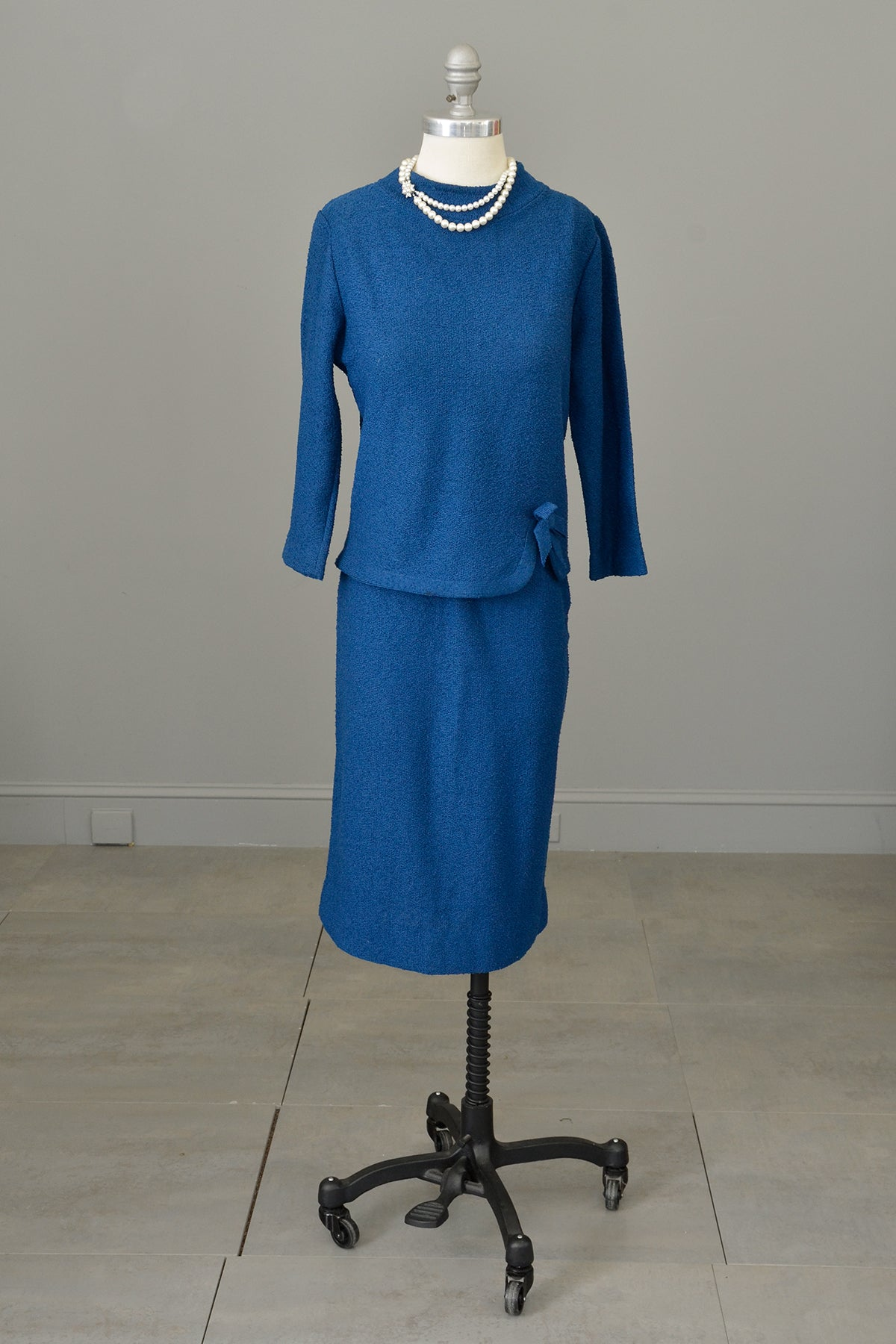 1950s Blue Textured Knit Top Sweater Skirt Set