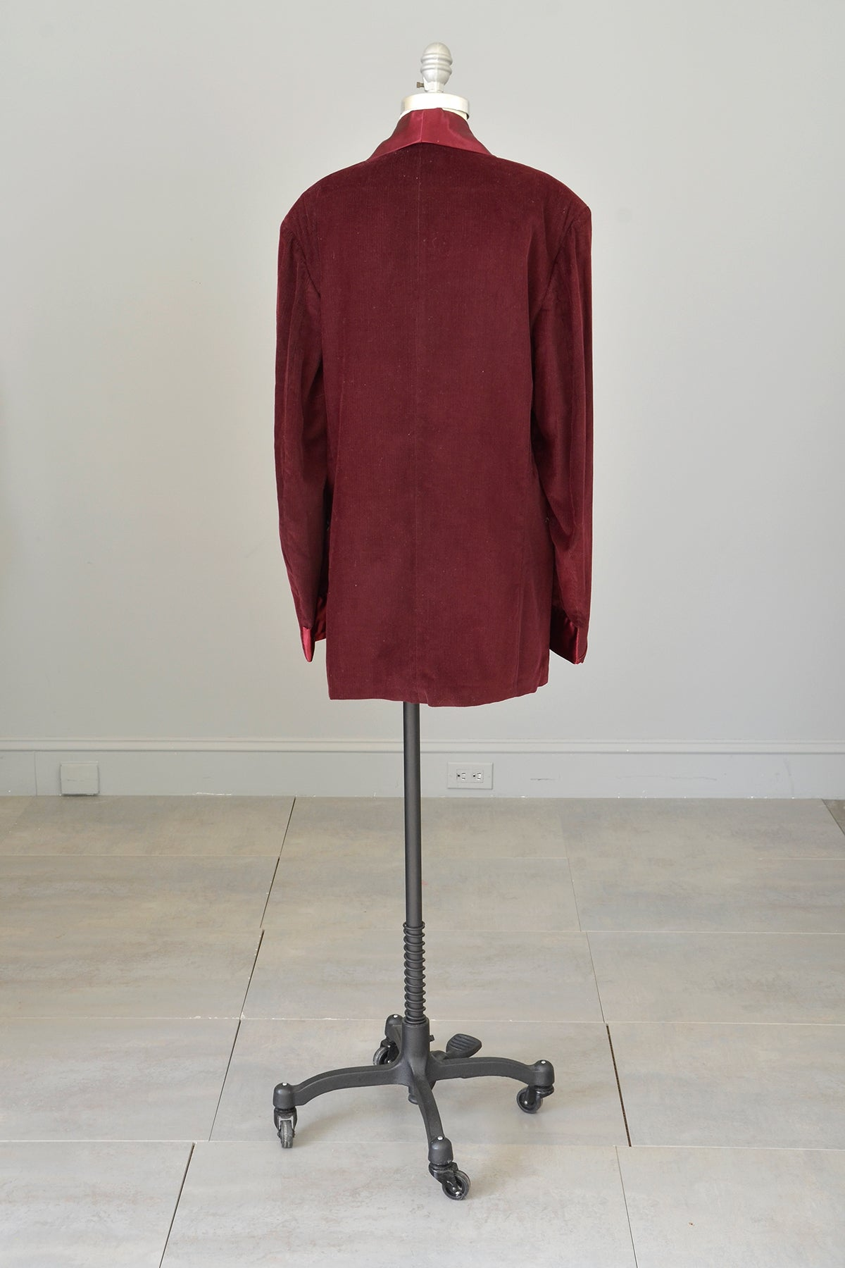 Amazing! 1950s 60s Burgundy Corduroy Satin Unworn Dinner Jacket Blazer