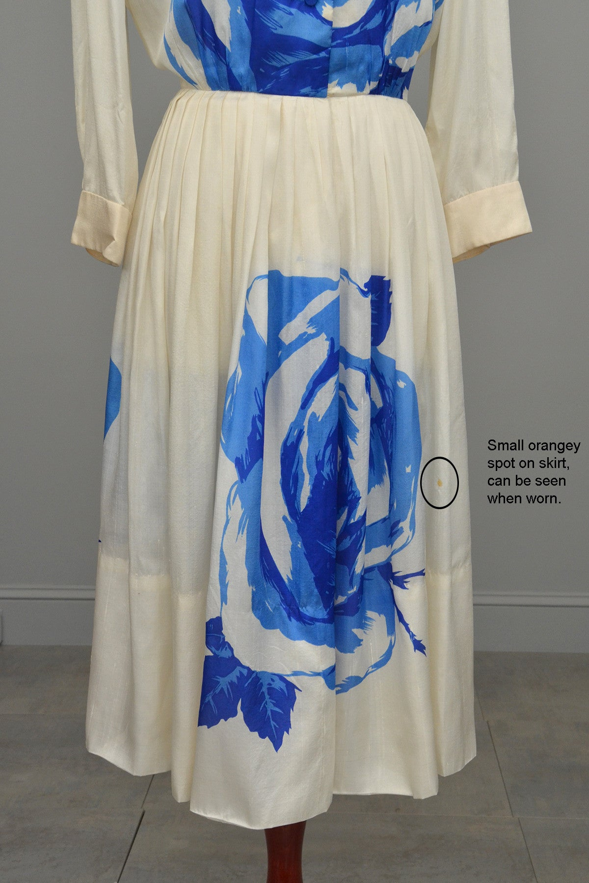 99dae5578f7 Reserved vintage blue white cabbage rose print silk dress jpg 1200x1800 Cabbage  rose print dress