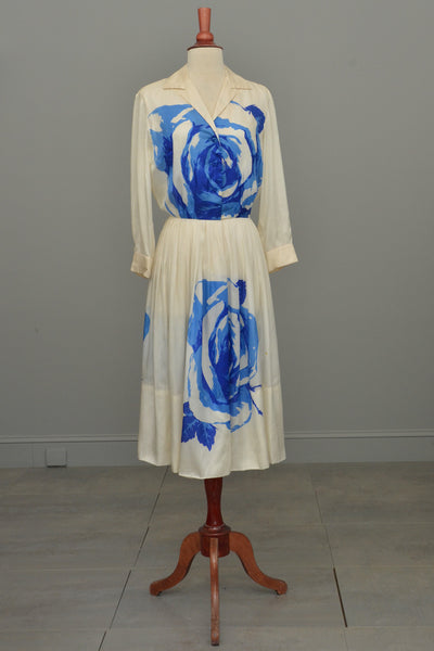 RESERVED Vintage 1950's Blue White Cabbage Rose Print Silk Dress