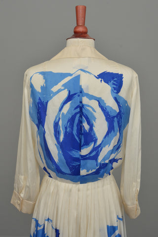 Vintage 1950's Blue White Cabbage Rose Print Silk Dress