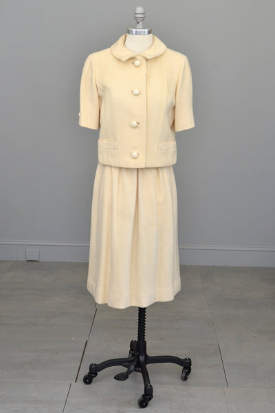 1950s Cream Cashmere Blazer Skirt Suit