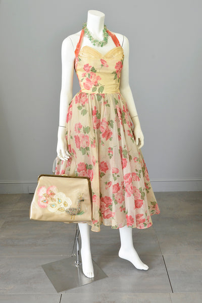 1950s Desert Rose Organza Halter Party Dress