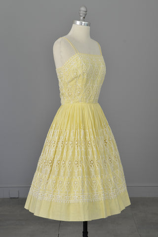 1950s Pale Yellow Embroidered Patio Dress | Pleated Full Skirt | Pinup