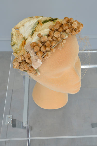 1950s Golden Velvet Leaves and 'Seeds' Hat Fascinator