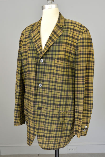 1950s Men's Olive Green Charcoal Grey Plaid Blazer Jacket Coat