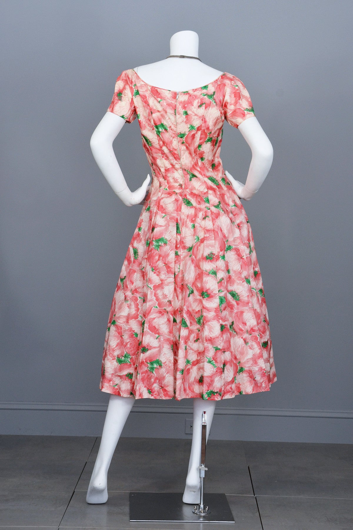 1950s Pink Retro Rose Print Silk Vintage Party Dress