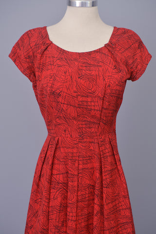 1950s Red with Black Atomic Sketch Print Dress
