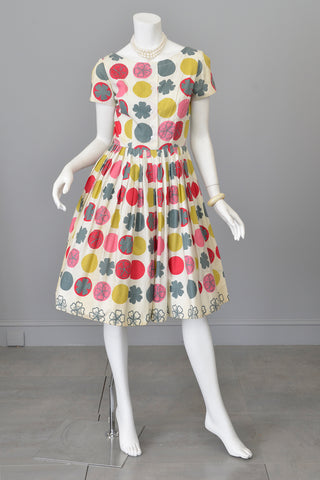 1950s Retro Novelty Print Dots Clovers Flowers 50s Dress