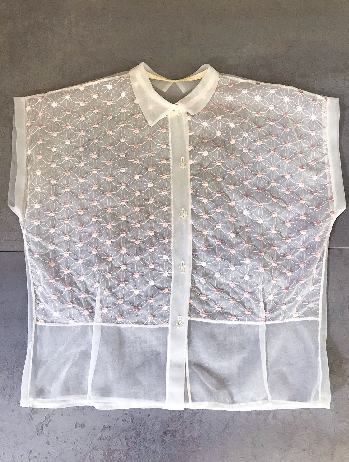 1950s Sheer White Nylon Blouse w Pink Embroidered Flower Dots