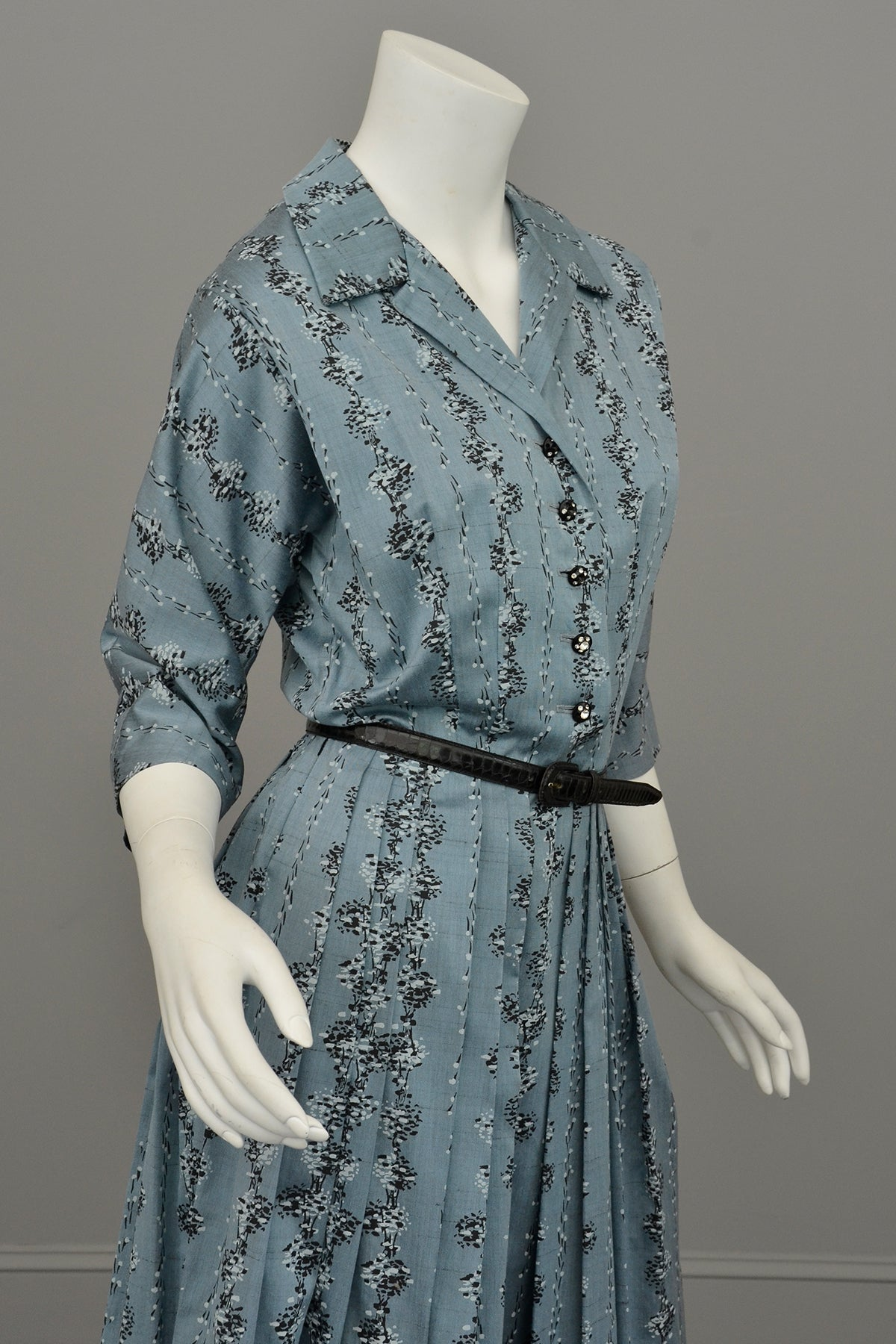 1950s Slate Blue Atomic Print Dress