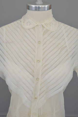 1950s White Sheer Nylon Pleated Blouse
