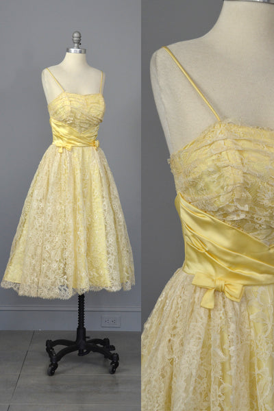 1950s White Lace Buttercup Party Prom Dress