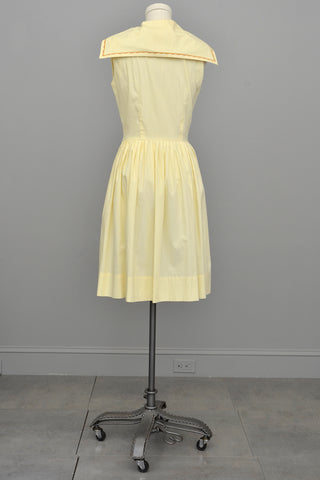 1950s Yellow Cotton Sailor Dress