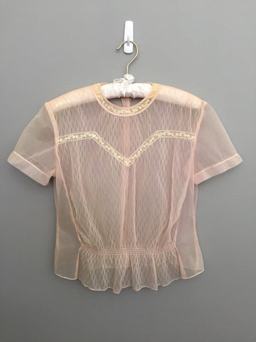 1950s Sheer Pink Blouse