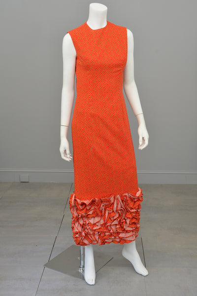 1970s Mod Retro Origami Hem Maxi Dress by Anne Fogarty