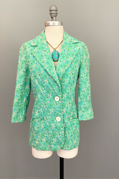 1960s Minty Green with Blue + White Embroidered Eyelet Blazer Jacket