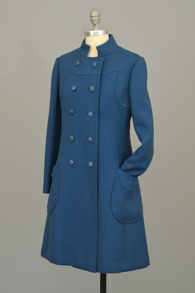 1960s Blue MOD A-Line Double Breasted Coat