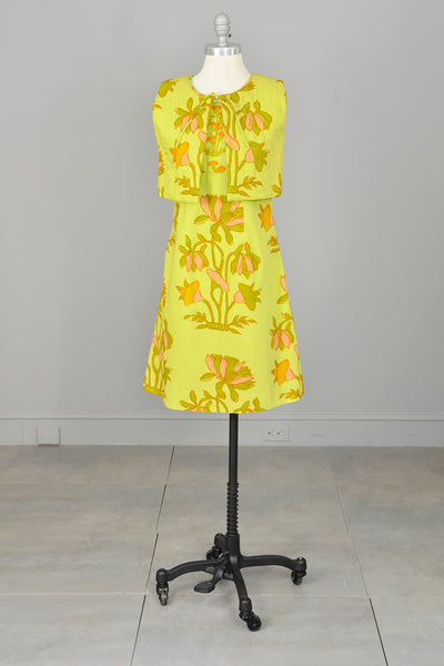1960s Chartreuse Op Art Tropical Floral Print A-Line Mini Dress and Quilted Cropped Vest | Design Thai Bangkok | 1960s Mini Dress