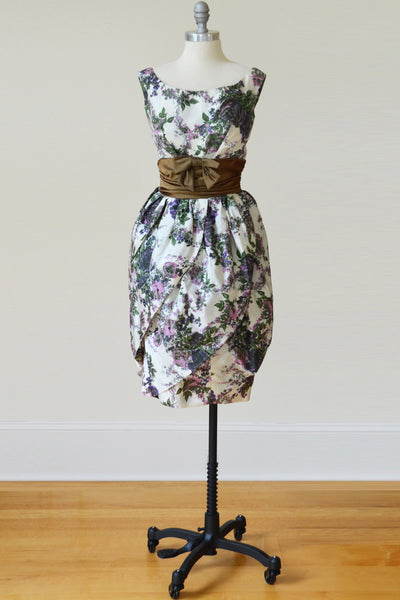 Vavoom!  Mad Men 1960s Tulip Hem Vintage Cocktail Dress Floral Print Taffeta