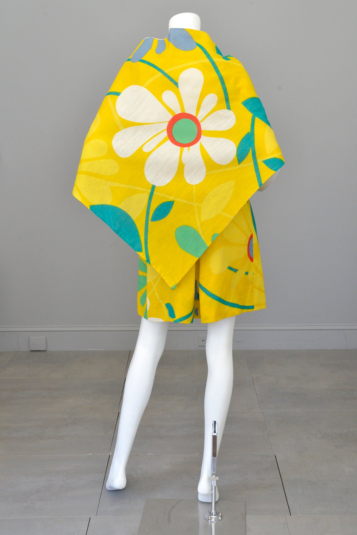 1960s 70s Flower Power Jumper Mini Sundress by Arnold Scaasi