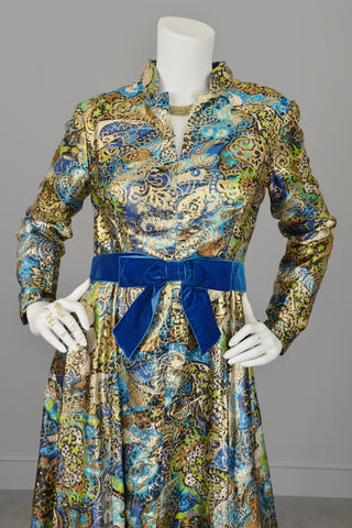 2766b88259f 1960s Blue with Gold Metallic Lamé Paisley Print Vintage Gown ...