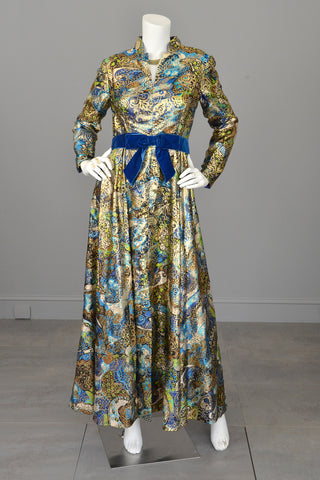 1960s Blue with Gold Metallic Lamé Paisley Print Vintage Gown