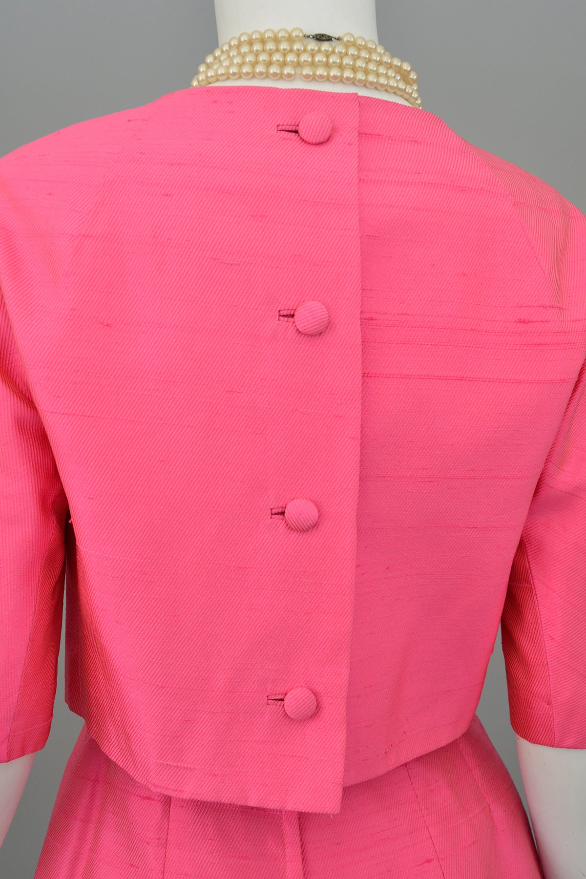1960s Hot Pink Empire Wiggle Dress with Matching Bow Bolero